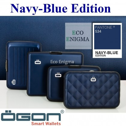 OGON Stockholm V1 Theft Proof Card Case RFID Safe - Navy Blue 2019