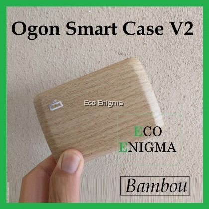 Ogon Smart Case V2 with Aluminium Style, RFID Theft Proof Waterproof Card Case (Colour: Bamboo )