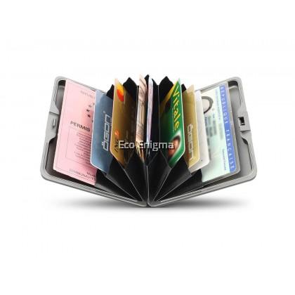 Ogon Smart Case V1 Large with Aluminium Style, RFID Theft Proof Card Case (Colour: Zig Zag )