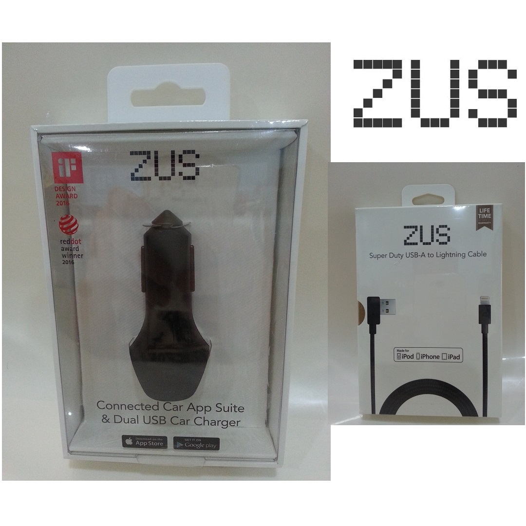 ZUS Smart Car Charger - Combo Set (Lightning)