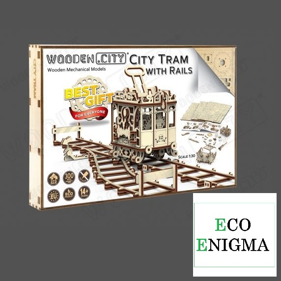 Wooden City® City Tram with Rails Wooden Model Kit